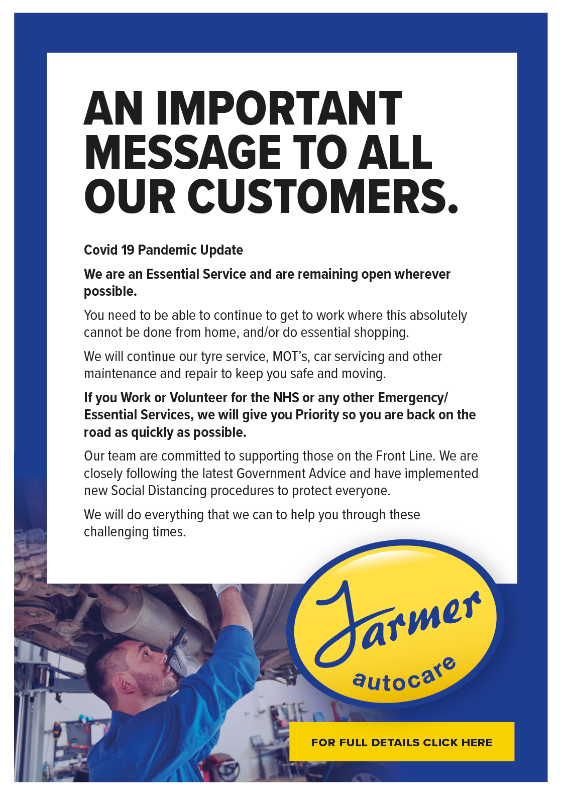 Click here to read our Coronavirus update for Farmer Autocare customers